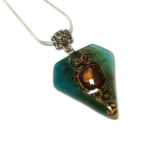 Fused Glass Pendant . Teal and Brown Glass Necklace. Silver Plated Chain. Unique Glass Recycled Glass Pendant. Great gift under 15, Handmade