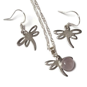 Small Dragonfly set. Dangle earrings and necklace. Recycled fused glass pale lilac bead. Unique handcrafted and ecofriendly. Dainty jewelry.