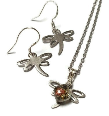 Small Dragonfly set.  Drop  earrings and necklace. Recycled fused glass sand and copper bead. Dainty, tiny, minimalist jewlery