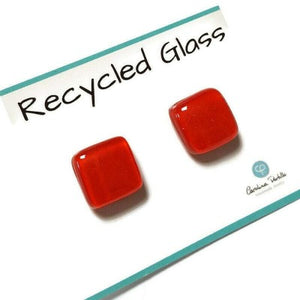 Post Earrings. Recycled glass Earrings. RED Earrings Studs. Fused Glass jewelry. Small plain simple minimalist stud earrings