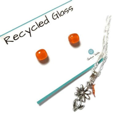Orange Sunflower set. Post stud earrings and necklace. Recycled fused glass pendant. Handmade. Flower earrings.