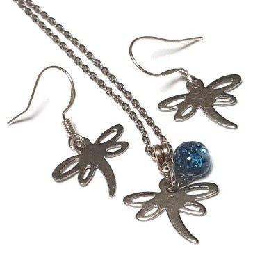 Small Dragonfly set. Dangle earrings and necklace. Recycled fused glass Blue bead. Unique handcrafted and ecofriendly. Dainty jewelry.