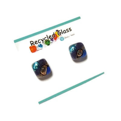 Post Earrings. Recycled glass Earrings. Purple and brown purple and turquoise Earrings Studs. Fused Glass jewelry. Small earrings