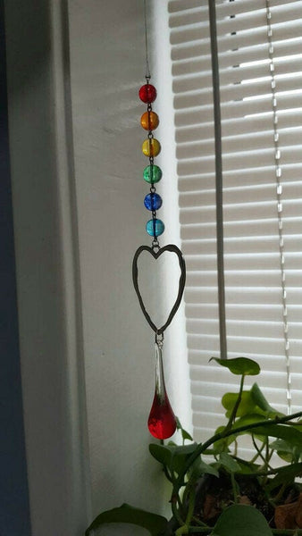 Heart rainbow ornament, Made with Hand painted vintage Glass. Wall Ornament. Handmade. Love is love. Glass Teardrop decoration