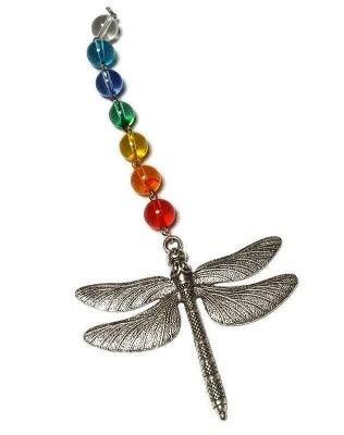 Dragonfly window ornament. Love is love, Rainbow decoration.  Colorful wall decor.   Handpainted vintage glass. Fun gift.