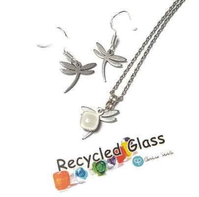 Small Dragonfly set.  Drop  earrings and necklace. Recycled fused glass white. Minimalist, tiny and ecofriendly. Dainty