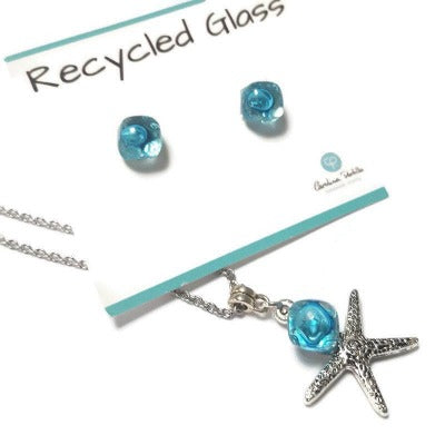 Minimalist Recycled Glass set of Stud post earrings  and pendant. BLUE Beach ocean jewelry. Dainty jewelry.