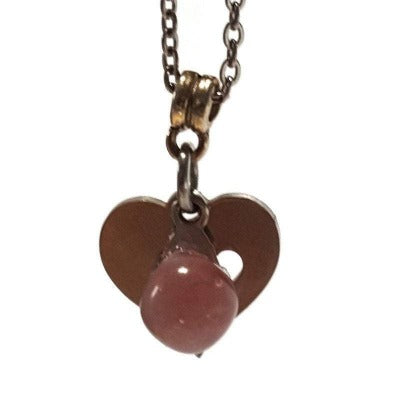 Pink Heart Pendant and Earring SET. Recycled Fused glass bead. Minimalist , dainty, small handmade jewelry.