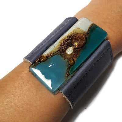 Wide Leather Cuff. Gray Leather Bracelet. Recycled glass Bracelet. Teal, white and brown cuff
