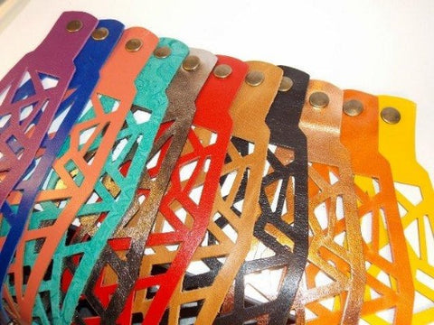 Hand-Cut Leather Bracelets - Handmade Recycled Glass Jewelry