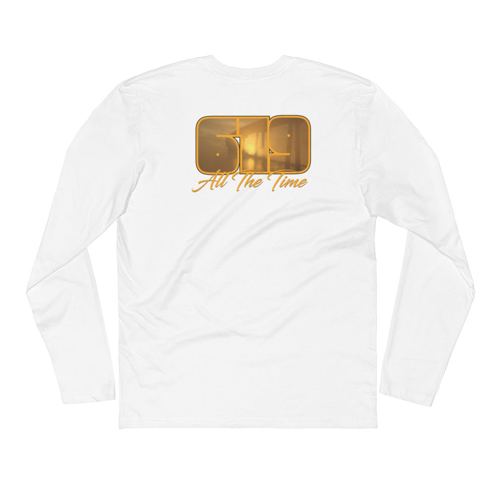 Back Print Long Sleeve Fitted Crew