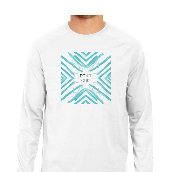 SuprCrowd Full Sleeve Don't quit T-shirts for Men in White and Grey - SuprCrowd