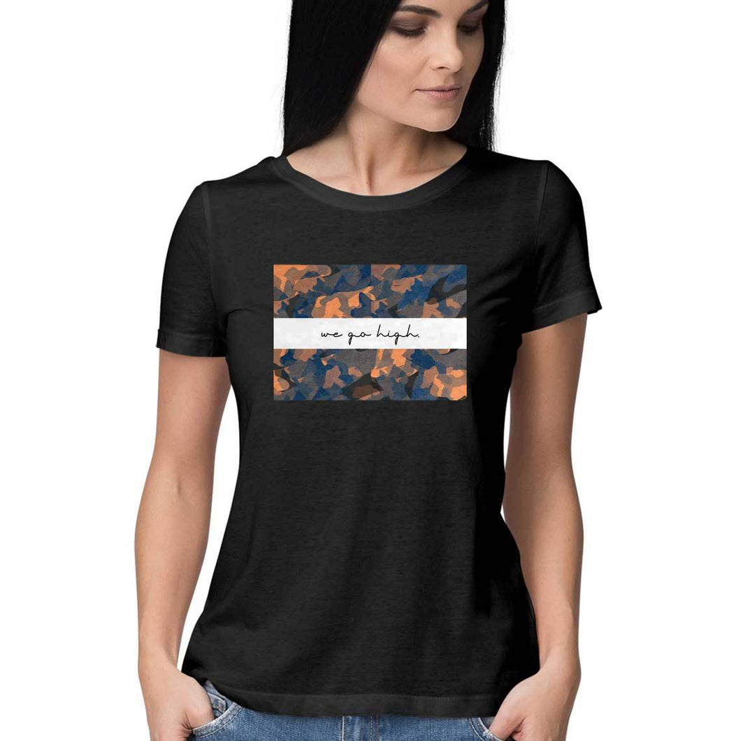 SuprCrowd Light Camo Women Round neck T-Shirt