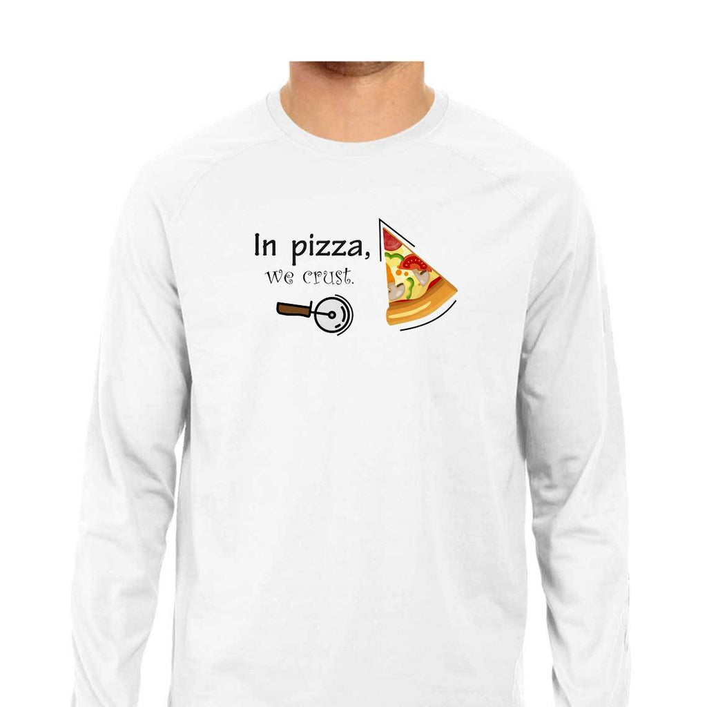 SuprCrowd In Pizza we crust Full Sleeve Grey and White T-shirt for Men - SuprCrowd