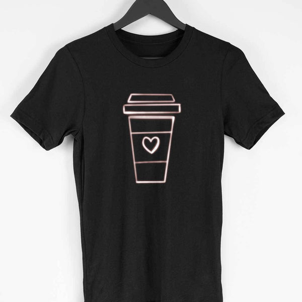 Love for Coffee Neon Colour Black Half sleeve Unisex T-shirt - SuprCrowd