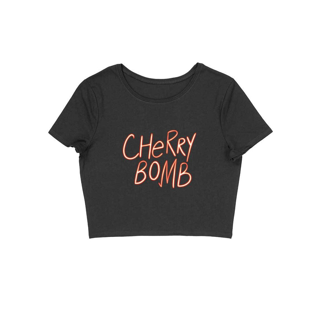 Cherry Bomb Neon colour Black Crop top for Women from SuprCrowd - SuprCrowd