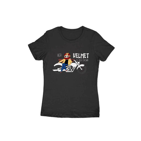 Her helmet is her crown Black round neck T-shirt for Women - SuprCrowd