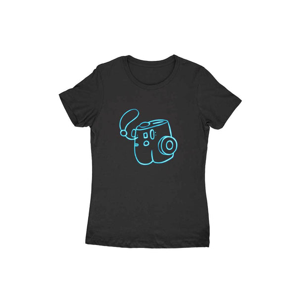 Sleek Camera Black colour Neon Round neck T-Shirts for Women - SuprCrowd