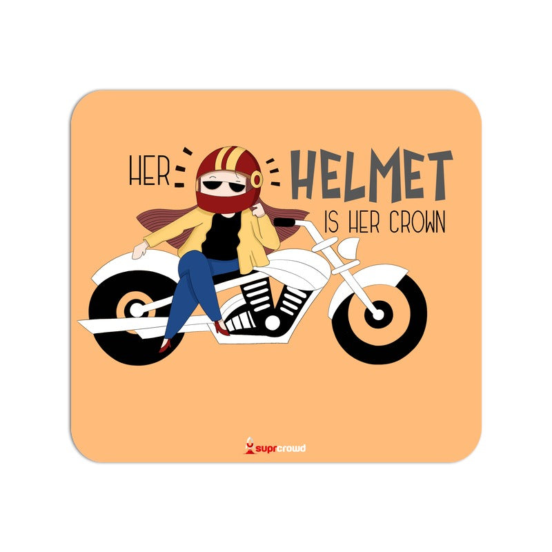 Her Helmet is her Crown Mouse Pads - SuprCrowd