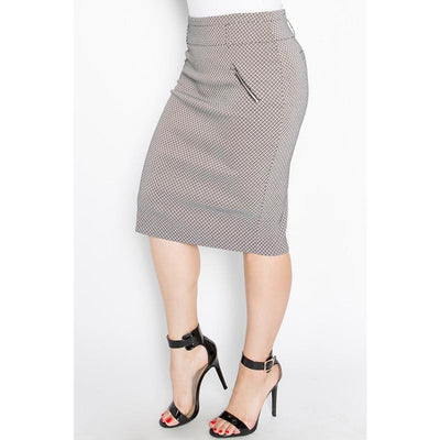 black and white pattern Pencil Skirt