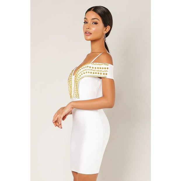 Gold Chain Bandage Dress