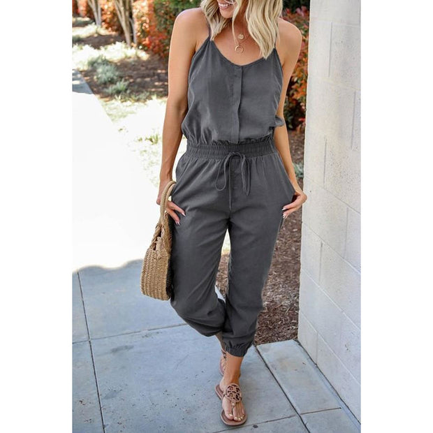 Gray  Suede Jumpsuit