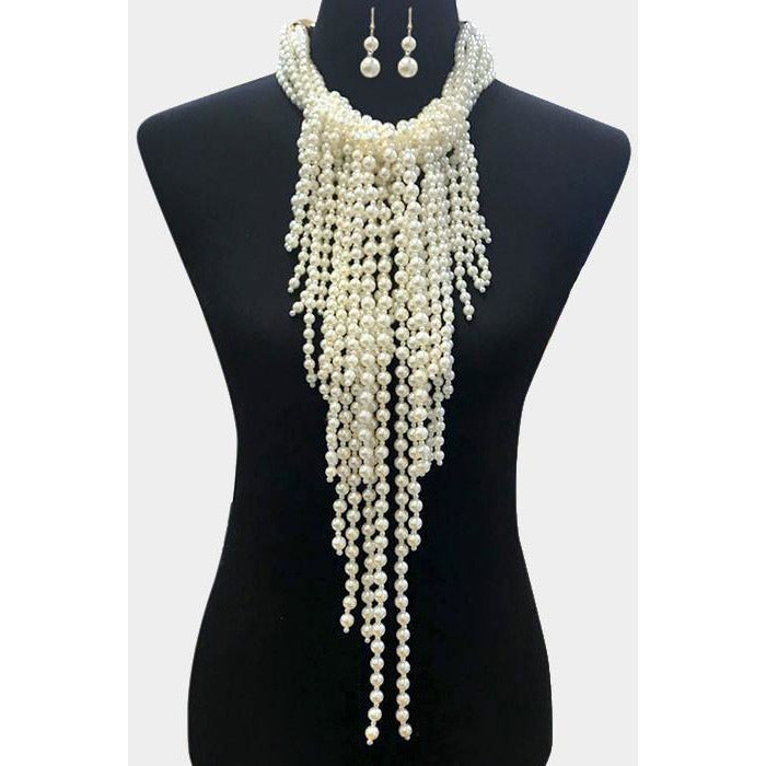 Long Pearl Statement Necklace