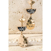 Hammered Glitter Stone Earrings