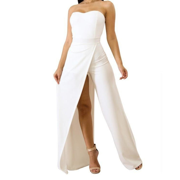 Split Strapless Jumpsuit