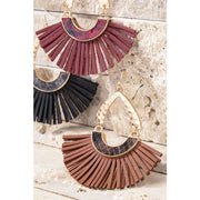 Faux Snake Leather Fan Earrings