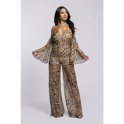 Sheer Zebra Jumpsuit