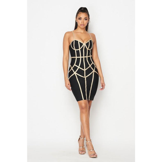 Gold patterned bandage dress
