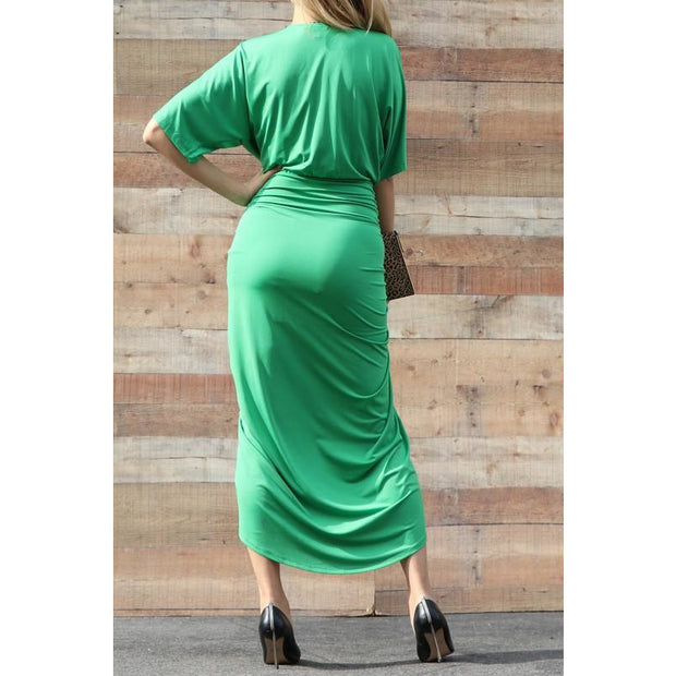 Rouched Front Slit Dress