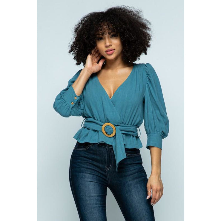 V-neck Puff Sleeve Belted Top