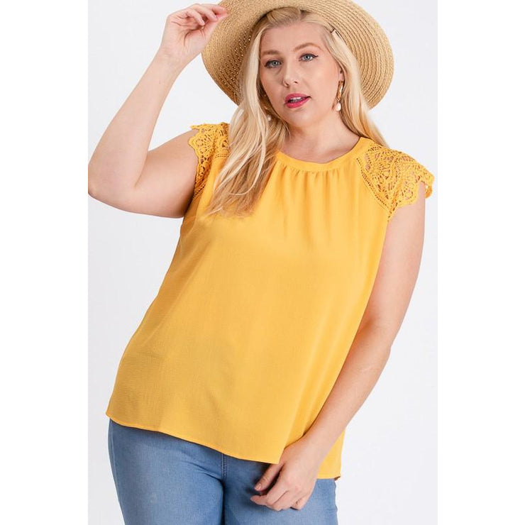 Dobby Lace shoulder Top