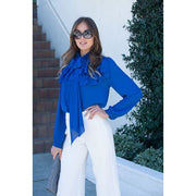 Ruffle Layer Tie Neck Blouse