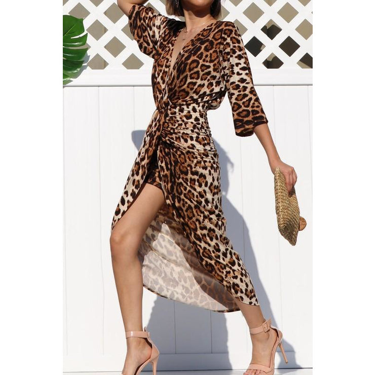 Leopard Rouched Front Slit Dress