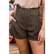 Olive High waist Buckle shorts