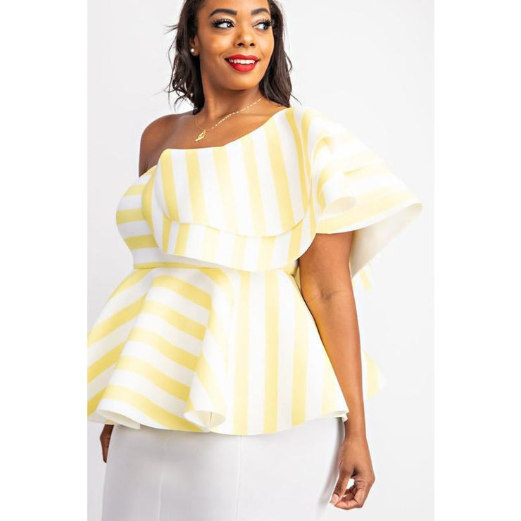 Striped One shoulder ruffle peplum top