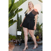 Curvy Bee Black Wrap Romper