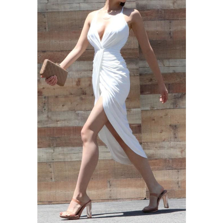 Solid Rouched Front Spaghetti Strapped Slit Dress
