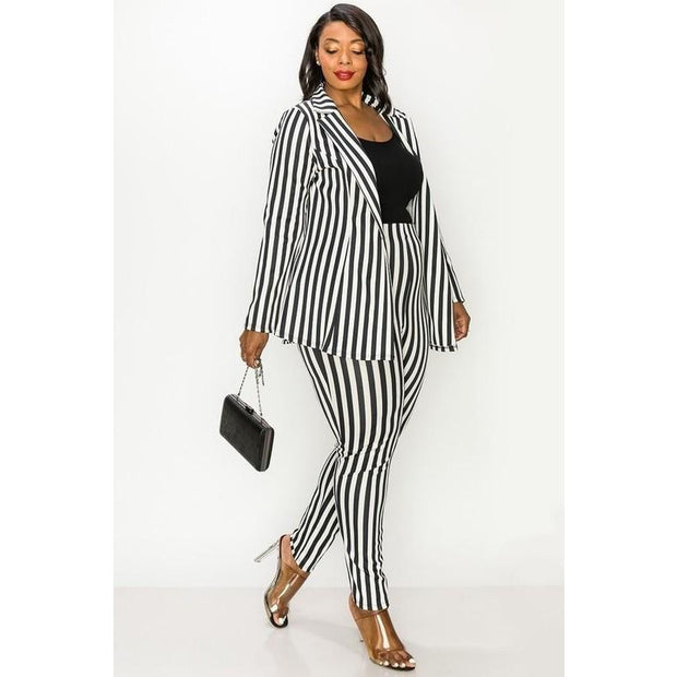 Striped Jacket & Pant Suit