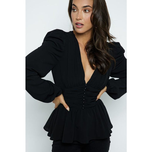 Pearl button Ruched Blouse