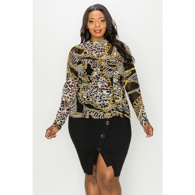 Shirring Leopard Chain Long Sleeve