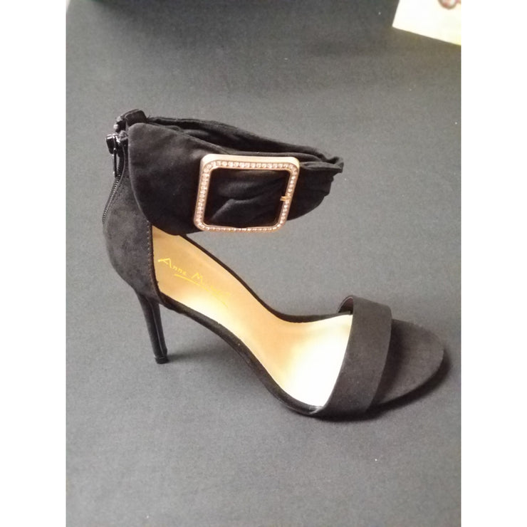 Black Suede Ankle-Strap Pumps