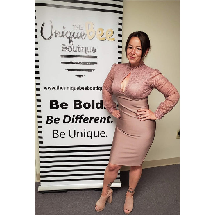 Rose Colored Plunging Neck Pencil Dress