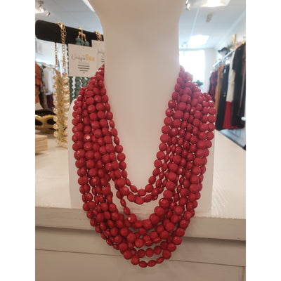 Red Multi-Layered Beaded Necklace