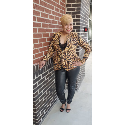 Tiger Print Zip Jacket