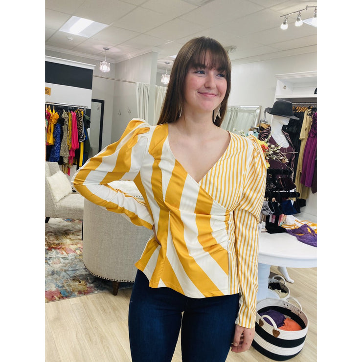 Striped Pleated Puff Sleeve Top
