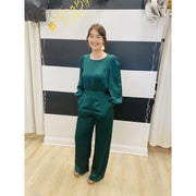 Long Sleeve Green Jumpsuit